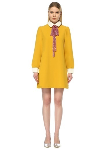 Sister Jane Yakası Payetli Mini Elbise Sarı